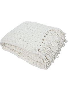 J & M Home Fashions Luxury Chenille Throw with Tassels, 50 by 60-Inch, Cream ❤ J & M Home Fashions