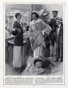 1913 - Coco Chanel  in her Shop Deauville, with Miss Frévalle, Paul Helleu, Santos Dumont