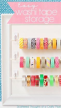 DIY Craft Room Storage Ideas and Craft Room Organization Projects - Easy Washi Tape Storage - Cool Ideas for Do It Yourself Craft Storage, Craft Room Decor and Organizing Project Ideas - fabric, paper Craft Room Storage, Paper Storage, Craft Organization, Storage Ideas, Ribbon Storage, Diy Storage, Planner Organization, Diy Washi Tape Storage, Wall Storage
