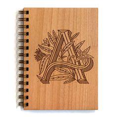 Floral Monogram Laser Engraved Wood Journal   A is for Anise   hand lettered typography floral illustration