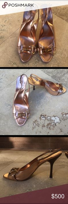 116436b78f5 Spotted while shopping on Poshmark  Bronze Gucci slingback heels with  bamboo detail!