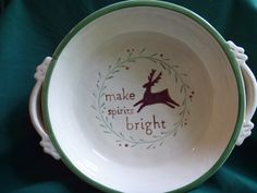 Russ Berrie Ceramic Holiday Serving Dish with Handles Make Spirits Bright - Table Decor & Serving Pieces
