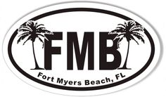 FMB Fort Myers Beach, FL Euro Oval Sticker 3x5