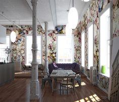 Rain Blossoms art wall covering design by Andrea Pramuk at Area Environments