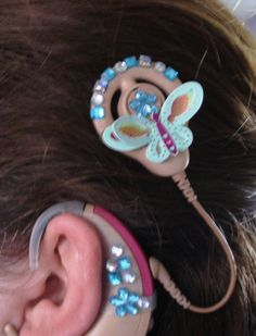 Cochlear Implant Decoration Speech And Hearing, Hearing Aids, Special Needs Kids, Weird Pictures, Bling, Earrings, Cochlear Implants, Accessories, Jewelry