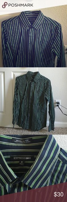 Men's Express dress shirt Excellent condition! Color is navy and a few shades of green. Very nice shirt and great quality material. Size medium. Worn a few times. No damages. MANY OTHER MEN'S ITEMS LISTED 😊‼️ This item can only be bundled with the following men's brands in my closet (for shipping purposes): BKE (buckle), Lucky Brand, Abercrombie, Quiksilver, Aeropostale, O'Neill, Affliction, Xtreme Couture, Division E, Reclaim, Express, Banana Republic. Please let me know if you have any…