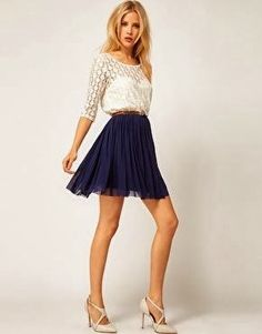 I always love a classic accordion skirt, the lace top is also very basic which is great | Fashion World