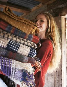 coziness! from Toast - Check blanket in pure Shetland wool, dyed, spun and woven in Yorkshire.