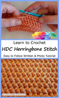 Free Half Double Crochet Herringbone Stitch Tutorial. An easy to follow lesson for beginners with step by step written directions and photos. Learn to Crochet a fun and fabulous textured stitch. Easy Knitting Patterns, Crochet Patterns For Beginners, Knitting Stitches, Stitch Patterns, Crochet Tutorials, Blanket Patterns, Knitting Needles, Crochet Ideas, Crochet Yarn