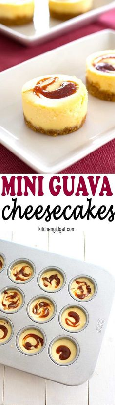Desserts - These tropical mini guava cheesecakes taste as good as they look! Perfect dessert recipe for a Puerto Rican or Cuban dinner! Mini Desserts, Brownie Desserts, Easy Desserts, Dessert Recipes, Filipino Desserts, Spanish Desserts, Guava Recipes, Cuban Recipes, Cheesecake Recipes