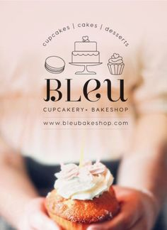 Logo design for a culinary pastry bakeshop, Bleu Bakeshop.