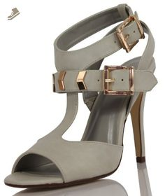 Delicious Women's Arroyo Faux Leather Open Toe T-Strap Buckle Ankle Strap, Dove Grey, 9 M US (dove grey, 9 M US Women) - Delicious pumps for women (*Amazon Partner-Link)