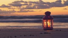 Скачать светильник, свеча, пляж, вечер, море для рабочего стола - раздел разное 1920x1080