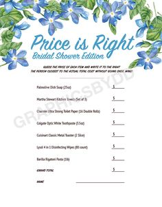 "Bridal Shower ""Price Is Right"" Printable Game - Blue Flowers  #bridalshowergames #weddinggames #engagementgames #priceisrightgame #printablegame #bridalshowerprints #downloadgames #etsy"