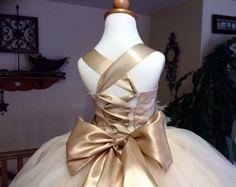 Vintage champagne wedding flower girl tutu dress with corset and sash newborn to size little girls 12