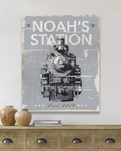 Compliment his room with beautiful and personal train art on a ready to hang gallery quality canvas, styled as a vintage farmhouse metal sign Boys Train Bedroom, Train Nursery, Train Room, Nursery Boy, Baby Boy Room Decor, Baby Boy Rooms, Beach Canvas Wall Art, Train Art, Train Station