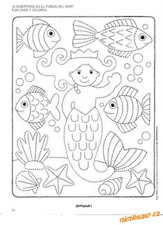Worksheet Fine Motor Skills: Tracing Underwater World . Just trace the dotted lines and color in. Preschool Writing, Preschool Worksheets, Preschool Activities, Pre Writing, Writing Skills, Motor Activities, Colouring Pages, Fine Motor Skills, Pre School