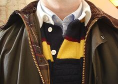 Barbour Bedale, Brooks Brothers wool rugby shirt, Lands' End Sail Rigger OCBD.