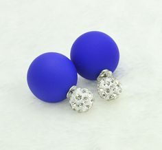 Free Shipping Hot New Arrival Crystal 18K Gold Plated Stud two side Earrings Jewelry For Women Stud Earring