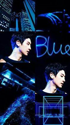 Chanyeol Cute, Park Chanyeol Exo, Baekhyun, Chansoo, Chanbaek, Blue Aesthetic, Kpop Aesthetic, Exo Lockscreen, Wallpaper Lockscreen