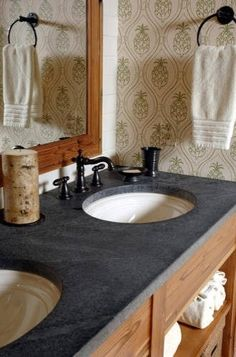 dark stone bench top for the powder room or main bath - love the style of vanity too...