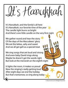 Kids Poems Two printable kids poems to celebrate the Jewish Festival of Lights, Hanukkah.Two printable kids poems to celebrate the Jewish Festival of Lights, Hanukkah. Hanukkah For Kids, Feliz Hanukkah, Hanukkah Crafts, Jewish Crafts, Hanukkah Decorations, Christmas Hanukkah, Hannukah, Happy Hanukkah, Songs