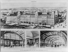 New York. Plans for the New Grand Central Station, 1899.  The New Grand Central Station, New York, Bradford L. Gilbert, Architect: 1. Bird's-eye view of the remodeled Grand Central Station, from the balcony of the Manhattan Hotel; 2. East end of the general waiting-room, …; 3. A corner in the women's room; 4. The general waiting room… the largest in the world, looking northeast.  This version of Grand Central was to last only 3 years before…  On the morning of January 8, 1902, an express…