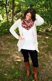 Fall: Cardigan, leggings, boots, and scarf.
