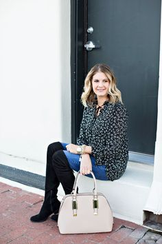 Classic black & white winter look with pops of pink. Love these over the knee boots! Get the details on http://ablissfulnest.com/