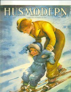 En av Helge Artelius många omslagsbilder till Husmodern - här nr 8 1937(Een van Helge Artelius talrijke afbeeldingen van de covers housewife - dit No. 8, 1937)
