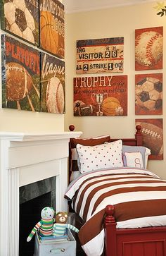 Boys room Baseball Room! Could do the same with blue and white and football theme. Or blue with yellow and a truck theme. Vintage posters