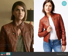 Malia's red leather jacket on Teen Wolf.  Outfit Details: https://wornontv.net/58651/ #TeenWolf
