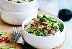 Gebratener Reis mit Huhn und Gemüse Zucchini, Chili, Green Beans, Grains, Rice, Salad, Vegetables, Food, Cooking