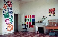 """Matisse, the development of """"The Parakeet and the Mermaid"""" on the walls of his studio at the Hotel Regina, Nice, 1952"""
