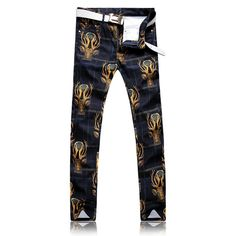 Cheap printed jeans, Buy Quality cotton jeans directly from China jeans punk Suppliers: Europe New Men`s Deer head pattern printing Jeans Punk Style Gothic Painted Cotton Jeans For Young Men Popular jeans Plus size Biker Jeans, Jeans Denim, Casual Jeans, Men Casual, Punk Fashion, Denim Fashion, Buy Jeans Online, Popular Jeans, Style Casual