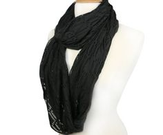 FandS - Solid & Shredded Women's Fashion Infinity Scarf | One Size | Multi Color (JET BLACK) #FandS