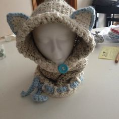 Wolf Hooded Cowl! Available in sizes 12 month up to Adult. These are incredibly warm and super popular. They can be custom ordered in just about any color(s) you can imagine. These make great gifts and are a hot item right now! Please indicate your color selections when you checkout.