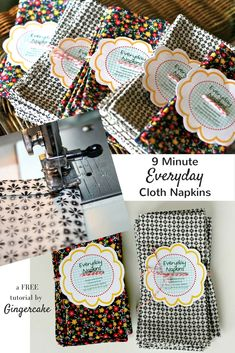 Cute, easy and FAST cloth napkins tutorial.  These DIY napkins are awesome.  By Gingercake
