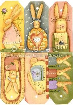 The Decorative Painting Store: Six Bunny Hang Tags Pattern by Terrye French, Newly Added Painting Patterns / e-Patterns - pretty pastel colors on these gift tags