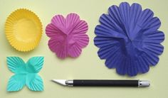 diy making flowers from cupcake papers | ... make paper flowers – construction paper flowers – paper flowers