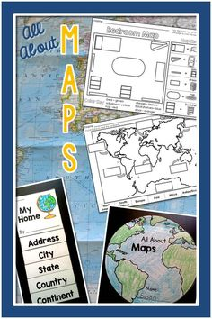 Maps– Geography for the Primary Grades: PowerPoint Slideshow and Printables for Kindergarten and Fir 3rd Grade Social Studies, Kindergarten Social Studies, Social Studies Activities, Teaching Social Studies, Kindergarten Activities, Teaching Tools, Teaching Ideas, Preschool, 2nd Grade Geography