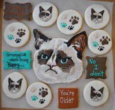 Grumpy Cat birthday cookies    www.facebook.com/lacyescakeryandcookies