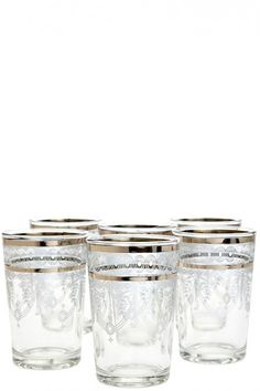 Moroccan Berber Silver Tea Glasses Set-of-Six