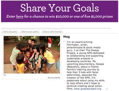 Please support my passion to continue creating social action films and to help change lives throughThe Gwapa Project! It's ridiculously easy. Just click the link below and share YOUR goals for your chance to win cash and prizes viaWells Fargo Share Your Goalscontest! —> http://shareyourgoals.wellsfargobank.com/ #giveback #philanthropy