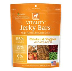 5oz Dogswell Vitality Chicken and Veggies Jerky Bars are high protein, low glycemic bars balanced with real fruits and veggies that you can ...