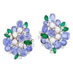 Pair of Platinum, Sapphire, Emerald, Diamond and Cultured Pearl Cluster Earclips, Carvin French