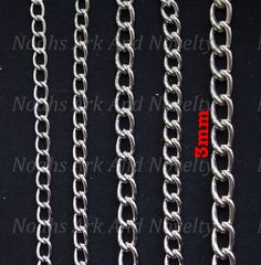 3mm Nickel Plated Welded Chain - Long Link