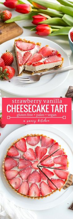 Strawberry Vanilla Vegan Cheesecake - A thick and creamy cashew vanilla cream topped with sliced strawberries over a layer of melted chocolate and a naturally sweetened date & hazelnut crust | #Paleo + #Raw + #GlutenFree