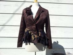 Reserved for photo shoot / Upcycled Clothing / Jacquard Jacket / Eco Clothing / Steam Punk Suit / Small / Medium
