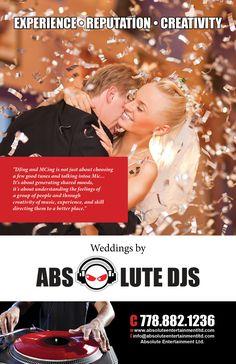 Weddings by Absolute DJS Vancouver Vancouver British Columbia, Music For You, Wedding Coordinator, Dj, Entertaining, Mood, Weddings, Movie Posters, Wedding